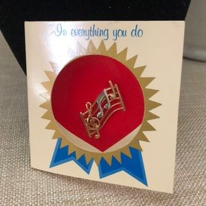AVON Vintage Musical Staff Pin w/ Original Card